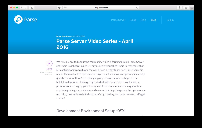 Parse Server Video Series
