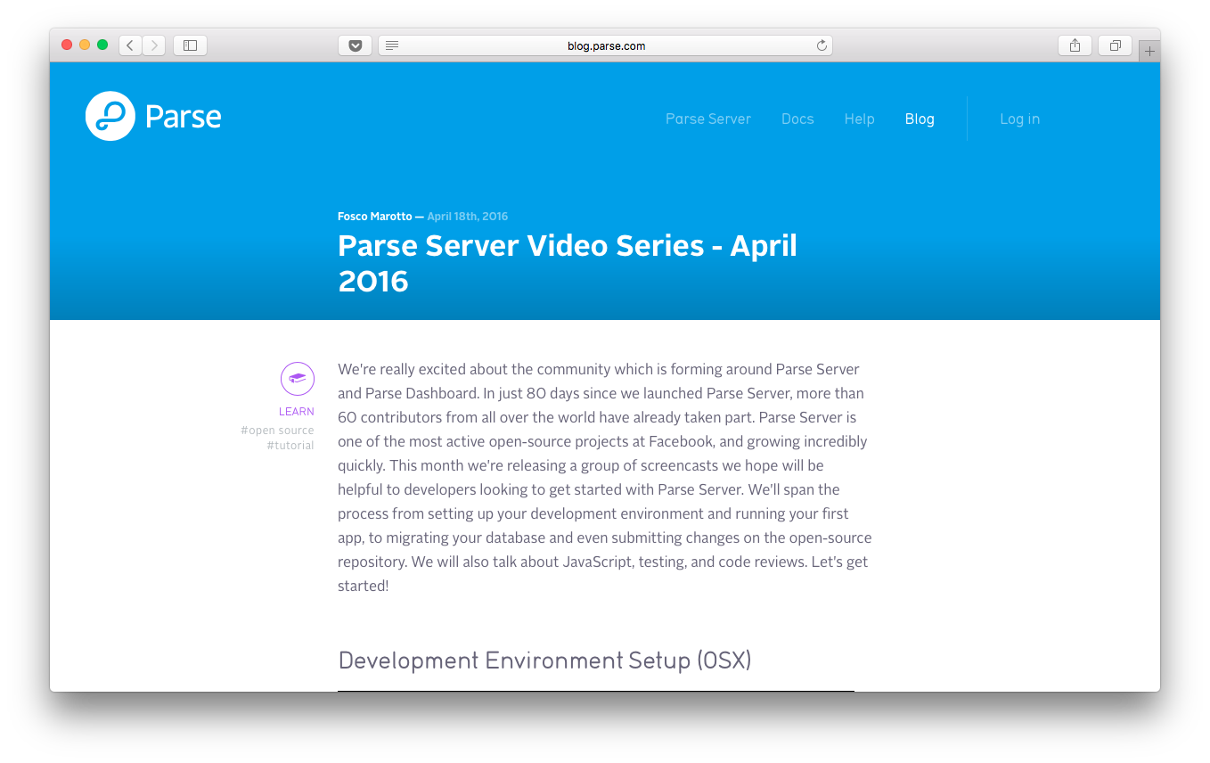 Parse Server Video Series