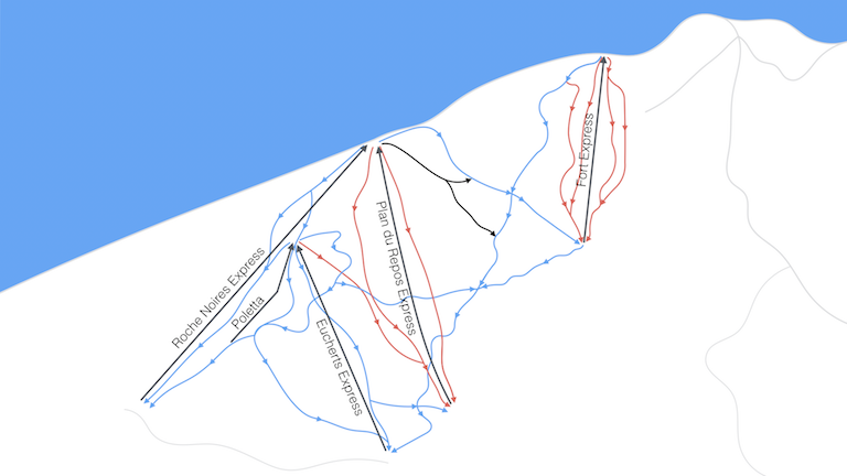 La Rosiere - partial map of ski lifts and tracks