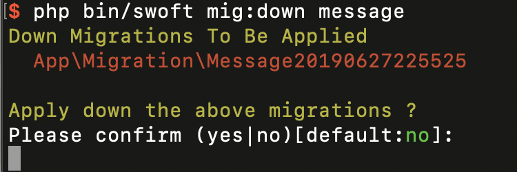 migrate:down