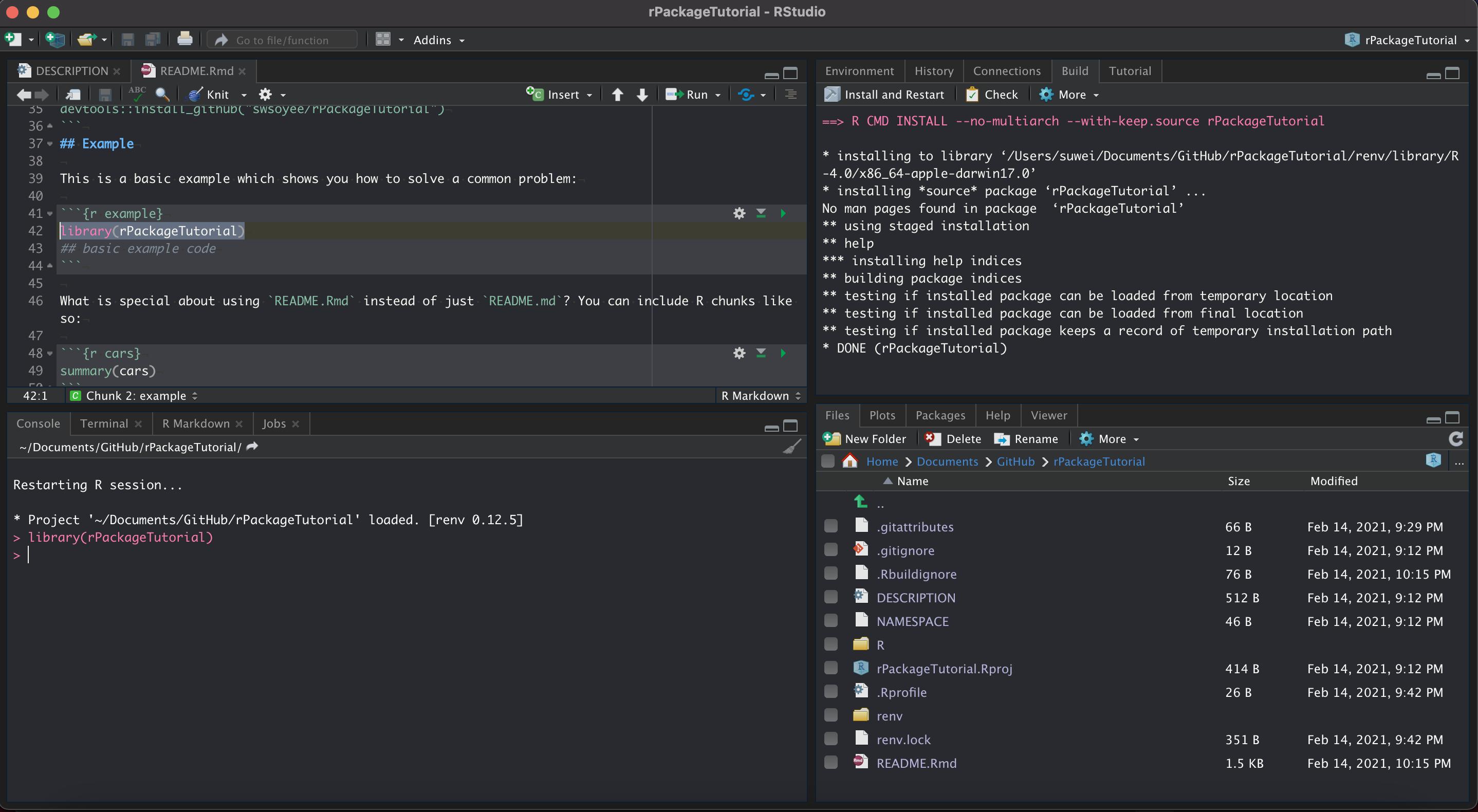 3.4.1 由于图中选择的加载包的代码存在,因此需要先将包成功打包一次才能成功执行。可以选择右侧面板中的 `Build` 标签,按 `Install and Restart` 即可。