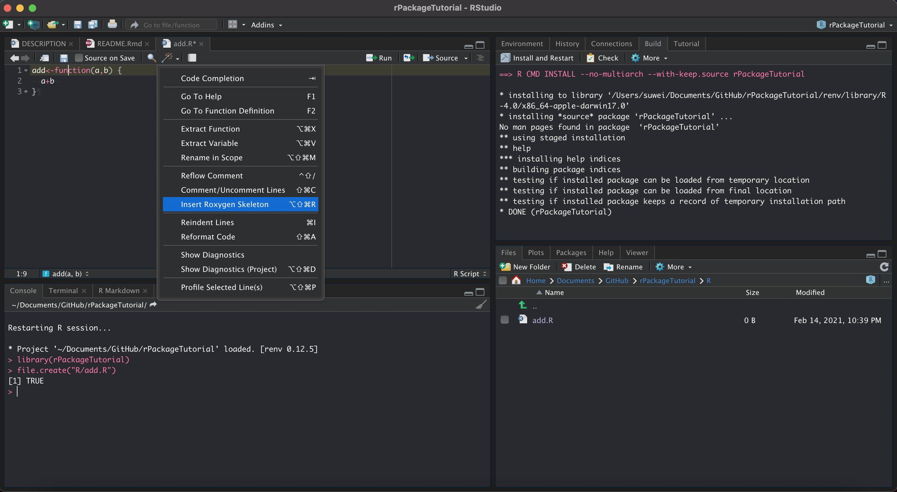 3.5.1 在 `R` 文件夹中创建 `add.R` 文件用于保存函数,点击 `Insert Roxygen Skeleton` 快速生成。