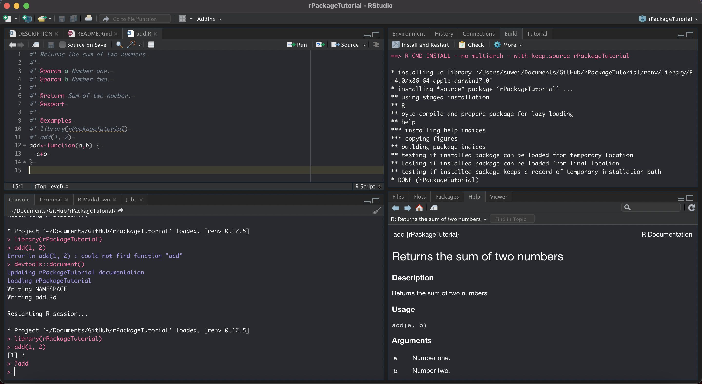 3.5.2 输入 `devtools::document()` 更新文档,然后点击 `Install and Restart` 重新打包并自动重新加载包,可用 `?add` 来确认没有问题。