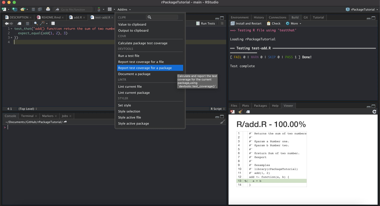 3.8.1 运行测试的方法多种多样,最简单的单文件测试是点击编辑界面右上角的 `Run Tests`。