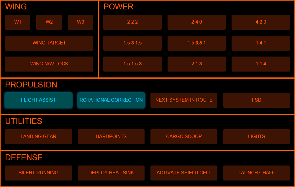 Screenshot of syelle's power-management-heavy Elite:Dangerous profile for TouchDown