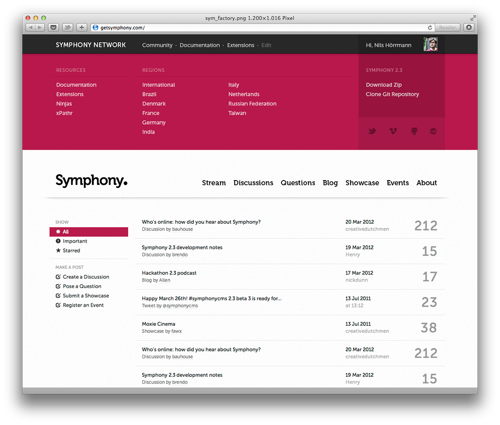Mockup: Symphony stream with open network overview