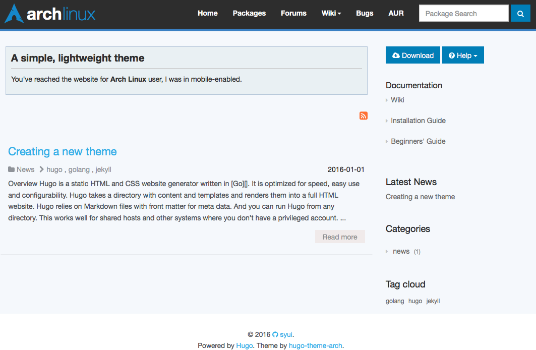 Hugo Arch Theme screenshot