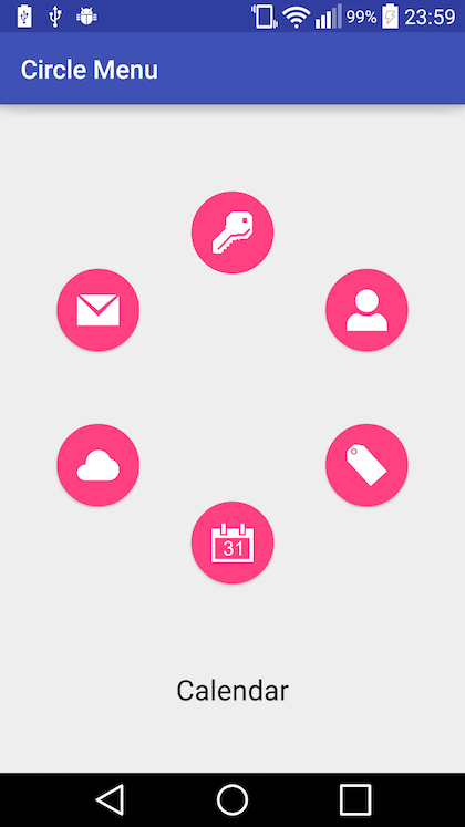 Circle menu screenshot