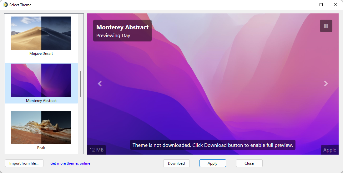 Screenshot of Select Theme window