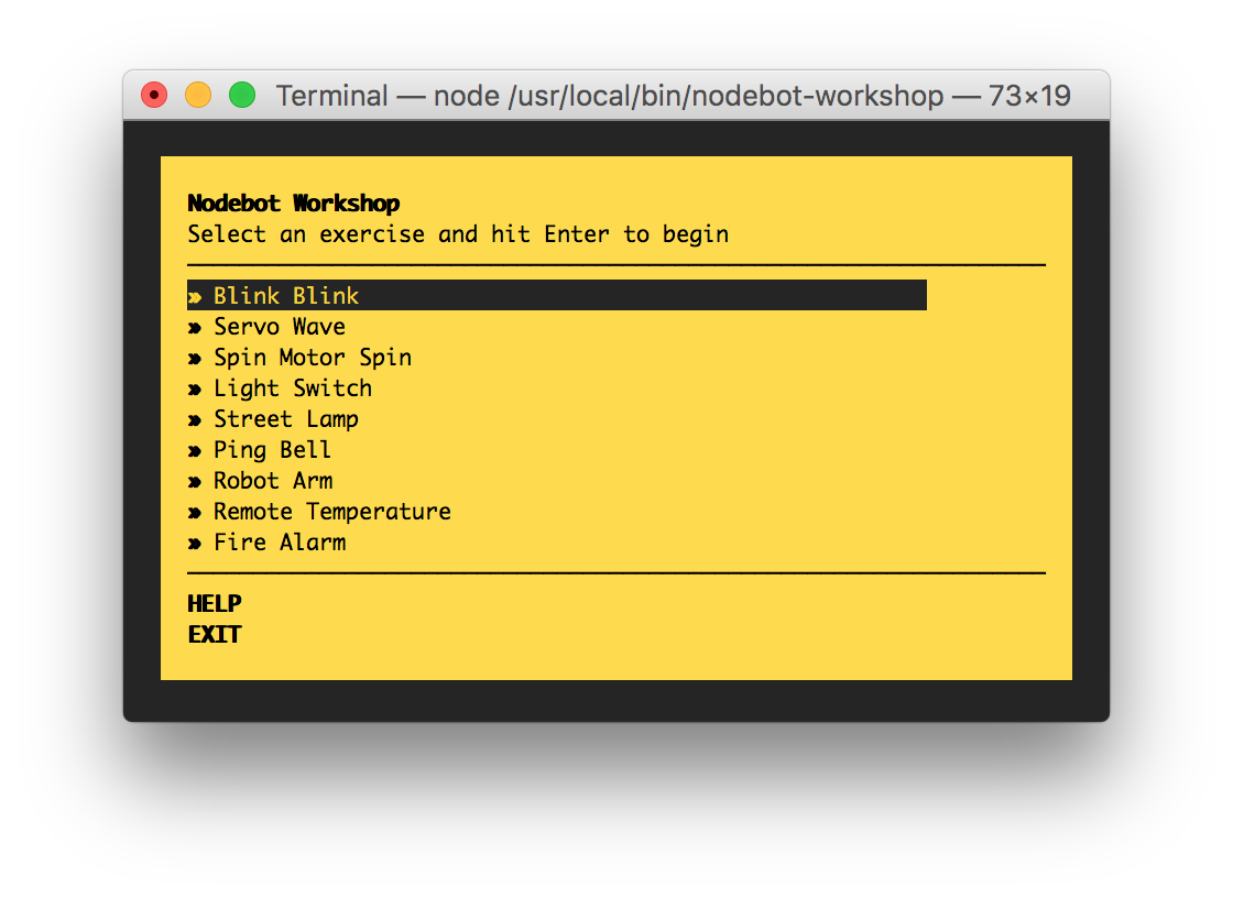 Nodebot workshop menu
