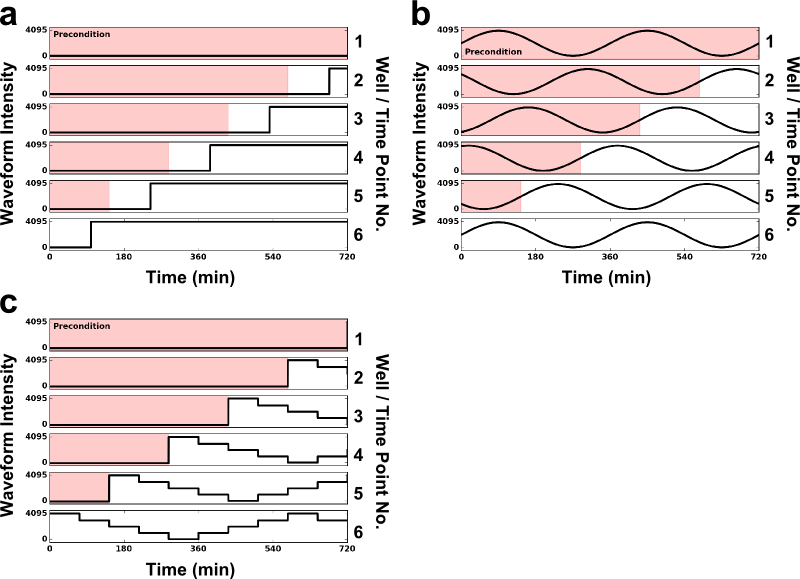 Schematic of the staggered-start algorithm. The schematic above demonstrates how the staggered-start algorithm is used to produce light time courses corresponding to desired time points in an experiment for each dynamic waveform in Iris: (a) a step input, with the step occurring at t=100min; (b) a sine waveform with 360min period; and (c) an arbitrary waveform. The plots demonstrate this process for 6 equally-spaced time points (subplots corresponding to the right axis) on each dynamic waveform. In this example, Well 1 corresponds to the t=0min time point, and therefore experiences the Precondition input (red overlay) for the entire experiment, while Well 6 corresponds to the t=720min time point, and experiences no preconditioning.