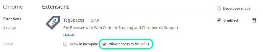 Screenshot showing how to enable the file access in chrome