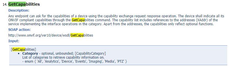Device GetCapabilities