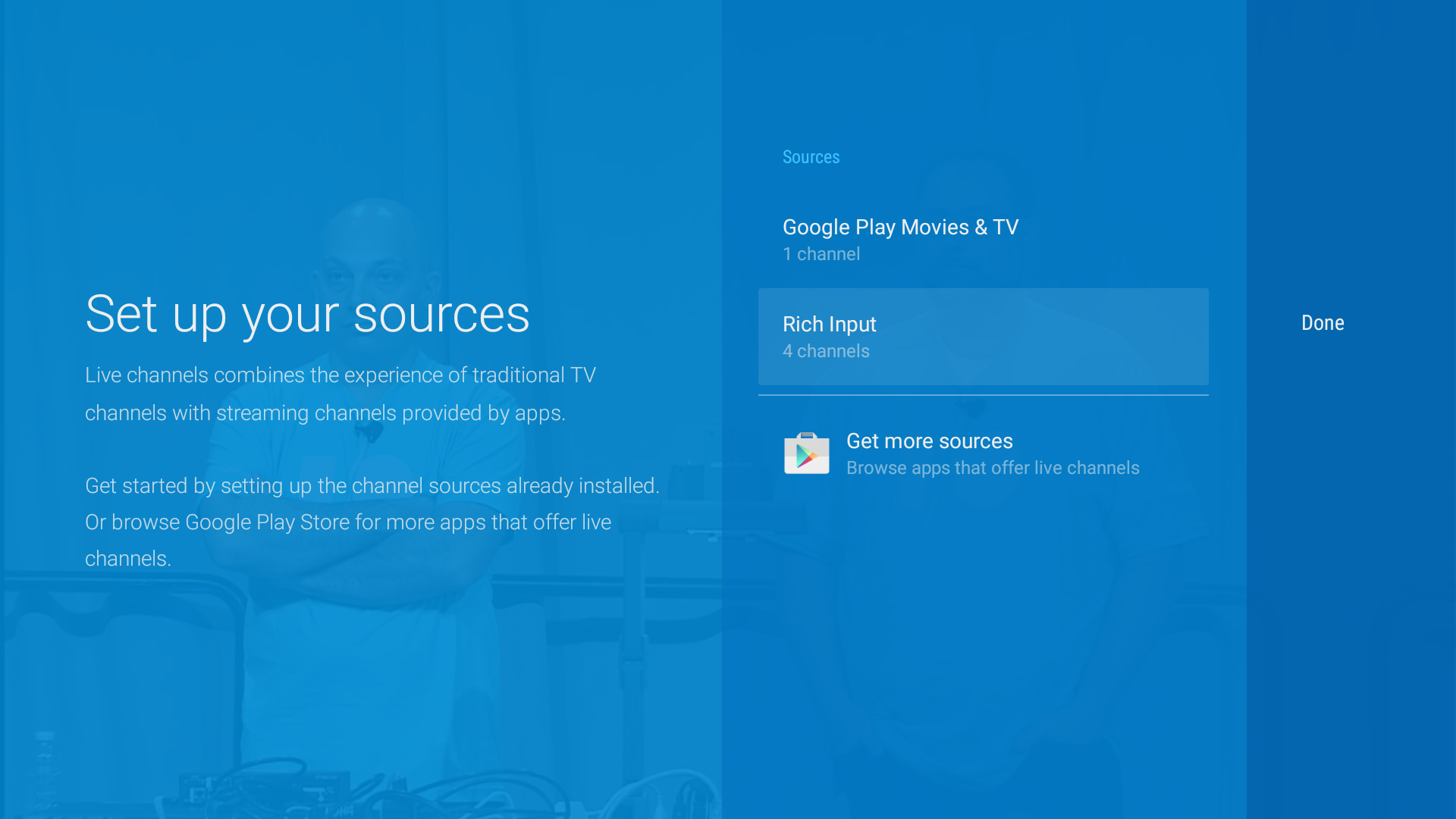 TV options:channel sources