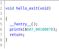 init function, prints out Goodbye World to kernel log