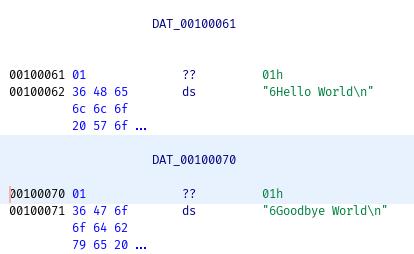 strings in memory, shows Hello World! and Goodbye World!