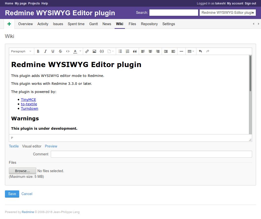 WYSIWYG Editor - Plugins - Redmine