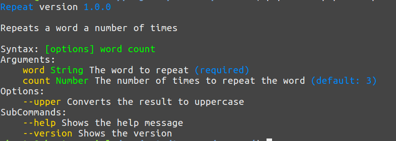 Help message example