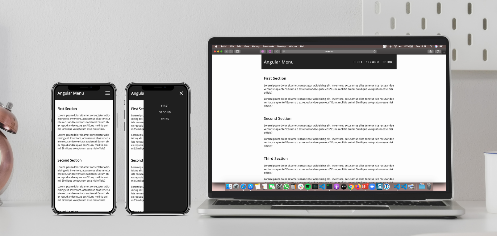 Screenshot of the project with responsive menu on desktop and mobile devices.