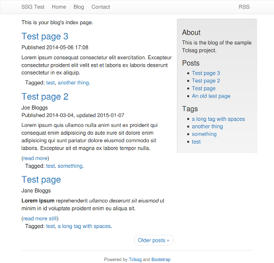 A test page generated by Tclssg