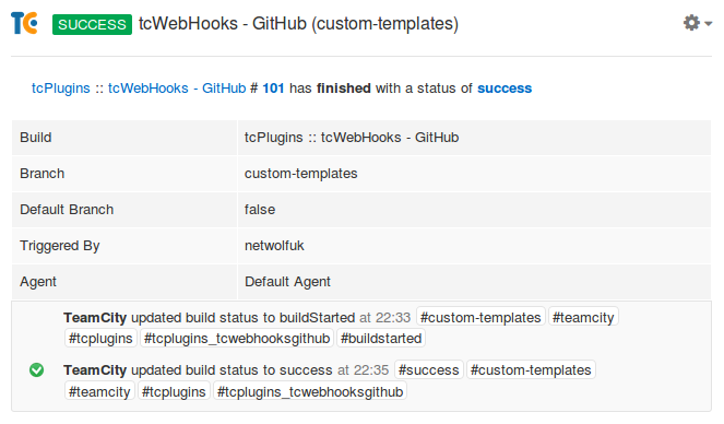 Screenshot of Flowdock output from template