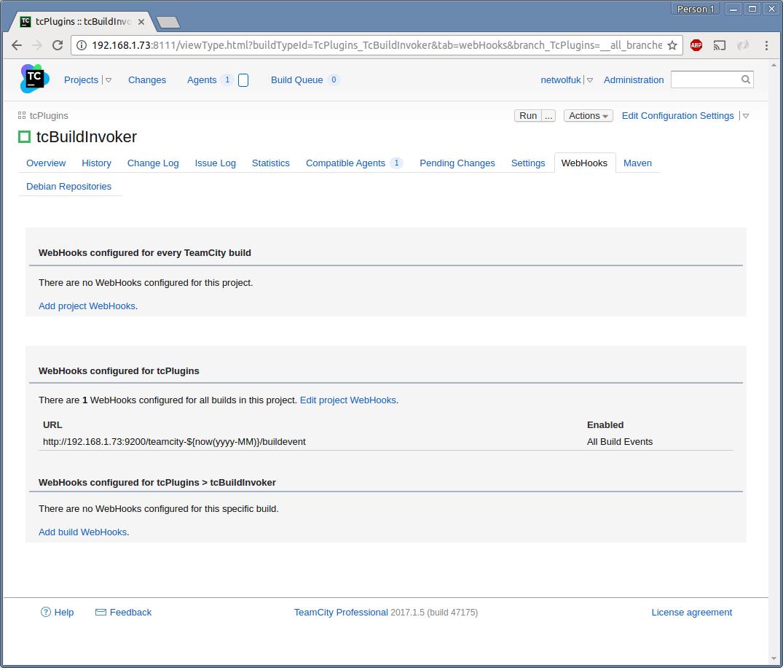 Screenshot : WebHooks Tab