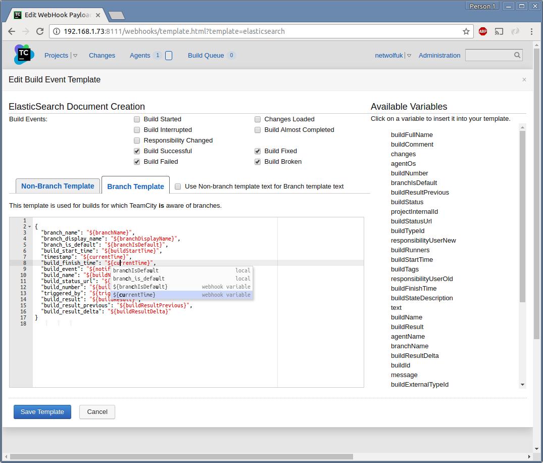 Screenshot : Editing a Build Event Template