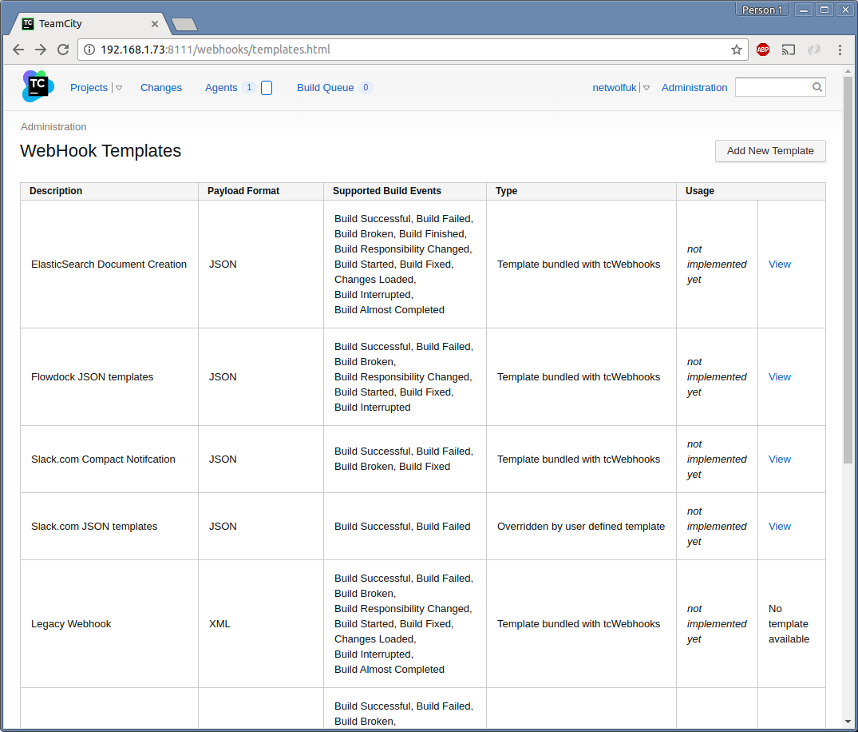 WebHook Templates Listing