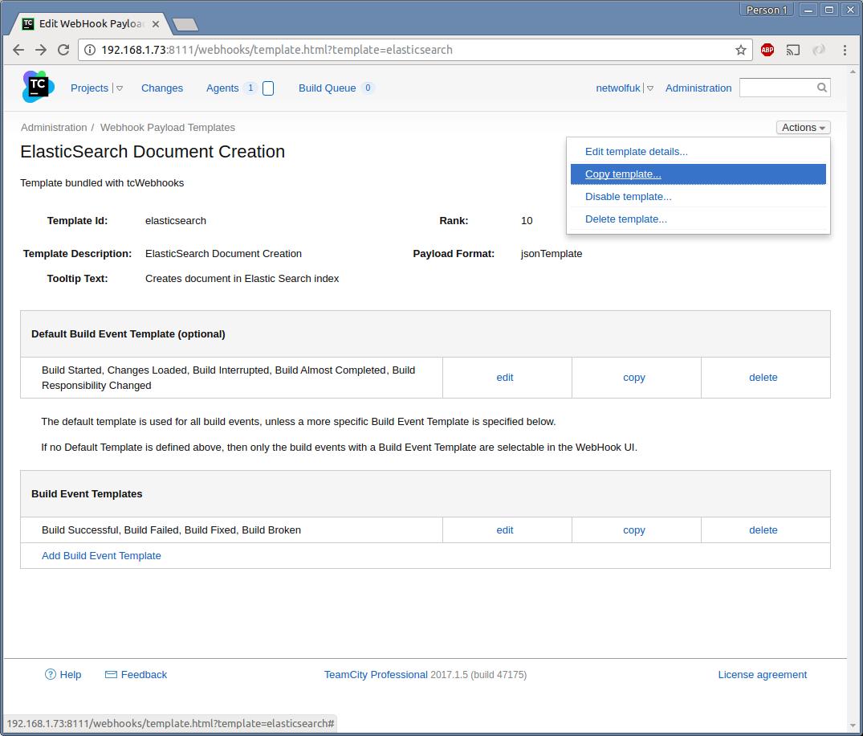 Screenshot : View Template Actions Menu