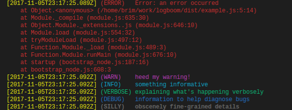 logboom colored console output