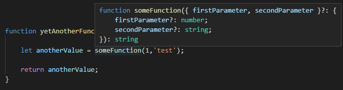 VS Code tooltip, typed, resolved-typed