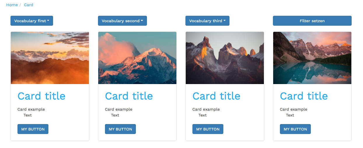 bootstrap styled cards