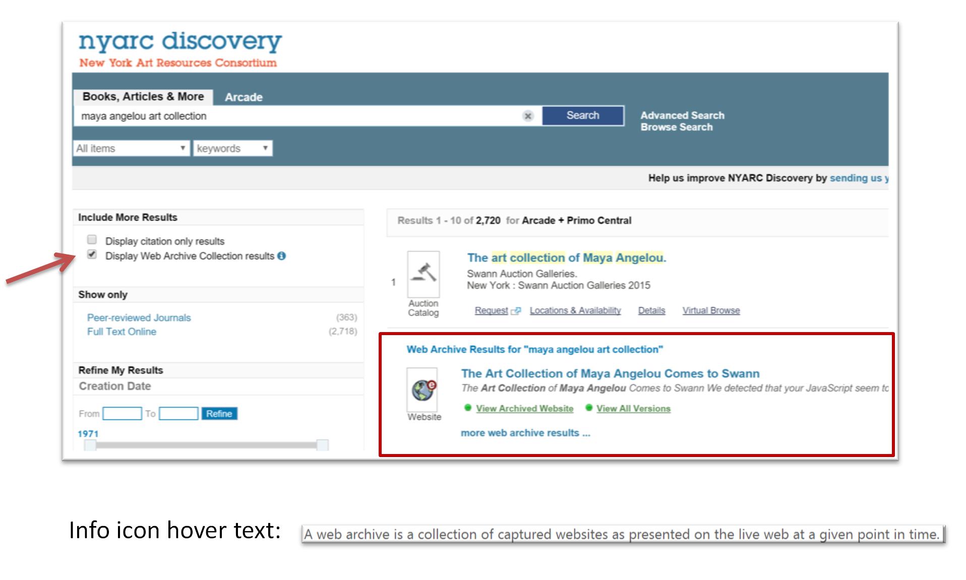 screenshot of NYARC Discovery
