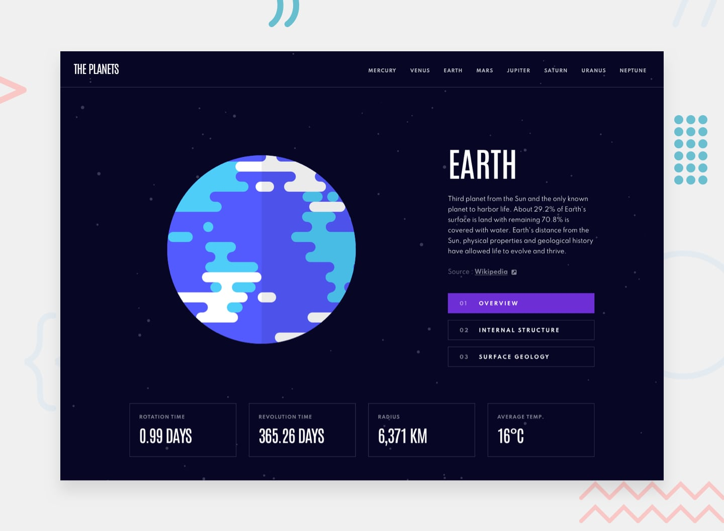 Design preview for the Planets fact site coding challenge