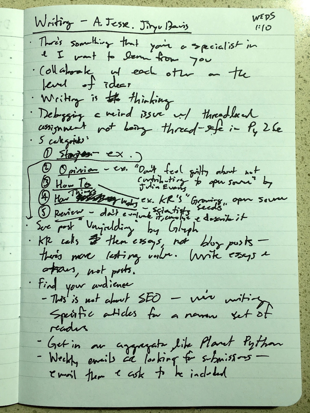 My notes from the talk, page 1