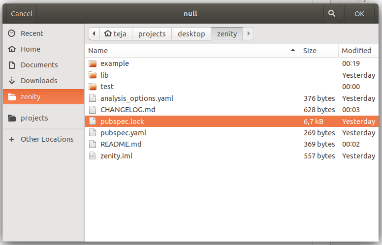Select file dialog