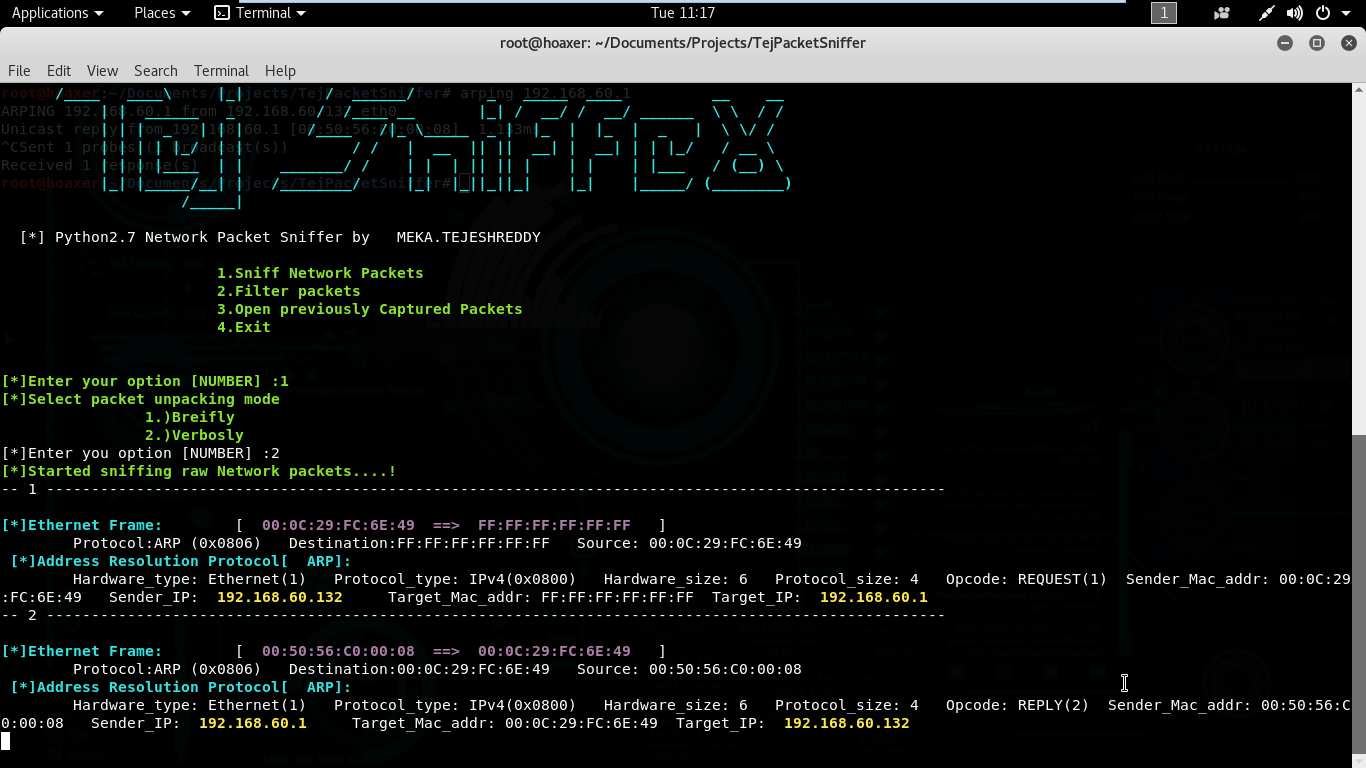 GitHub - tejeshreddymeka/Network-packet-Sniffer: It is a command
