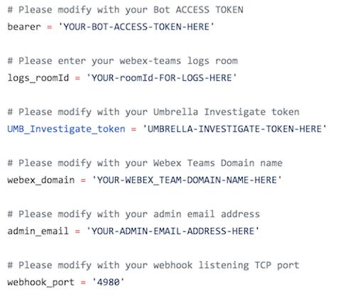tekgourou/Webex-Teams-Umbrella-Investigate-Bot: Querying Cisco