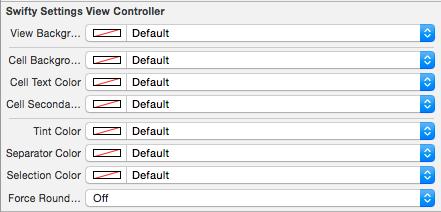 SwiftySettings Interface Builder