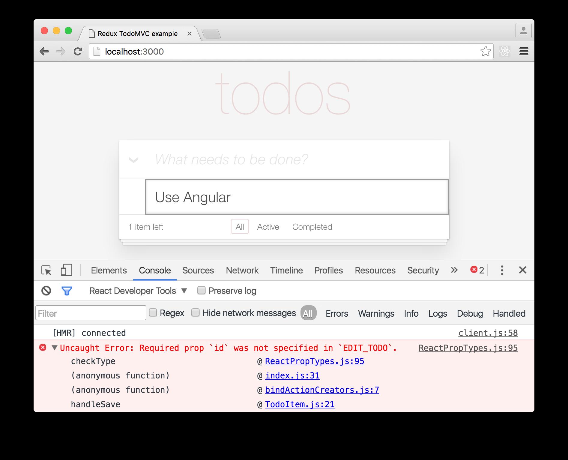 Error: Required prop id was not specified in EDIT_TODO.