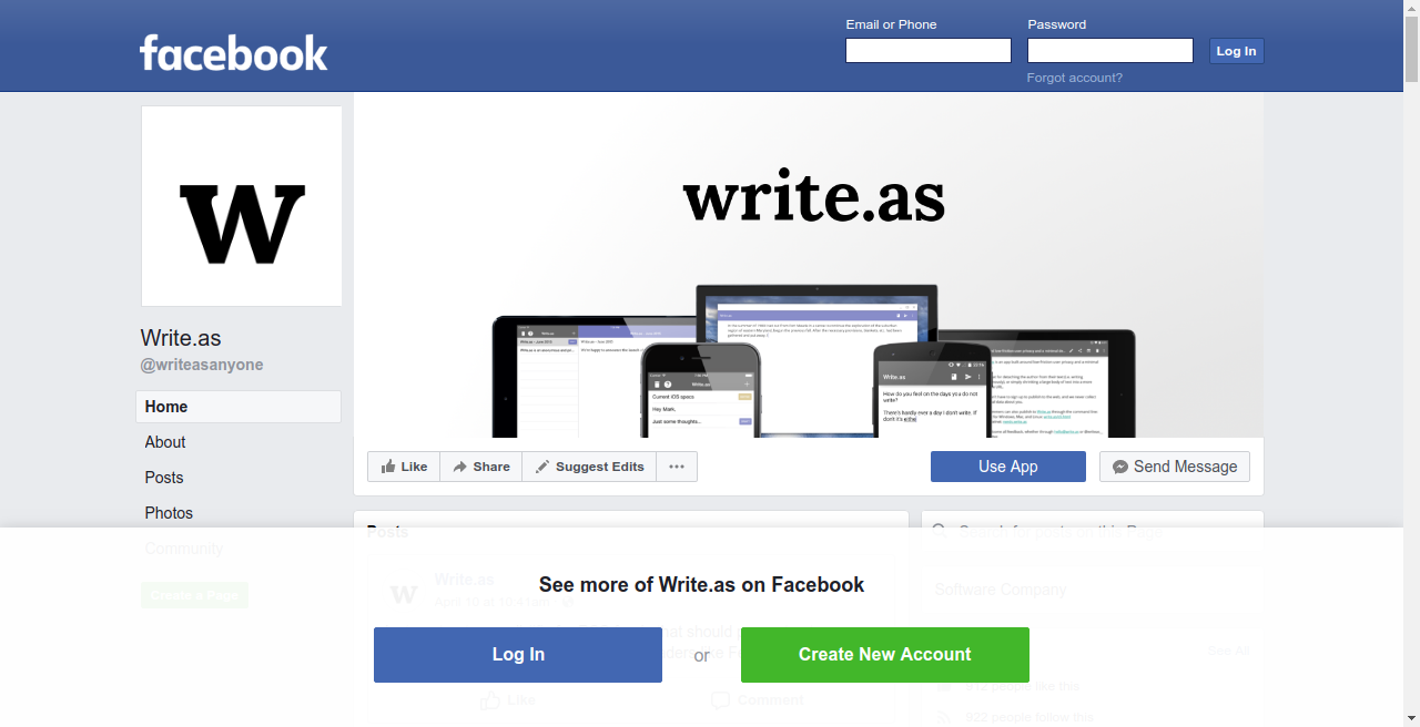 A Facebook page while not logged in, cluttered with sign up prompts
