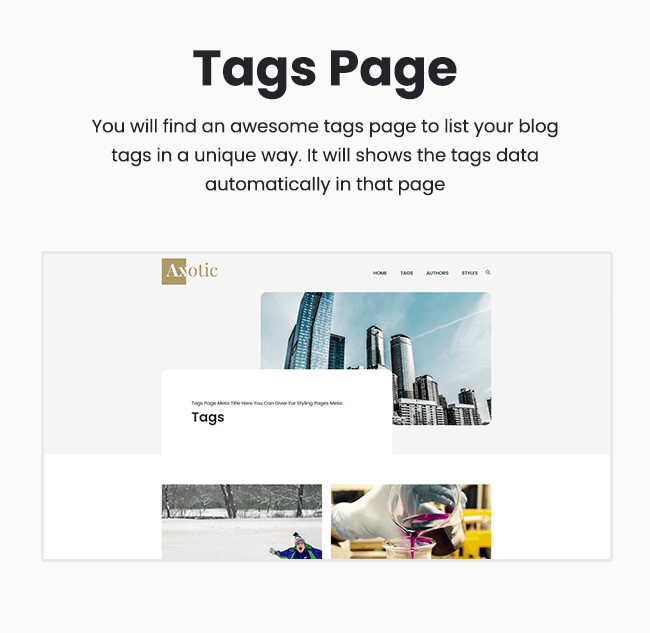 axotic tags page ghost Themeix