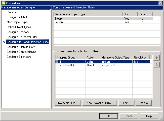 Configure Join and Projection Rules