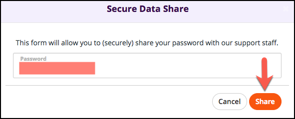 Password field and Share button