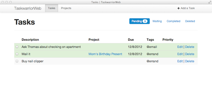 TaskwarriorWeb screenshot