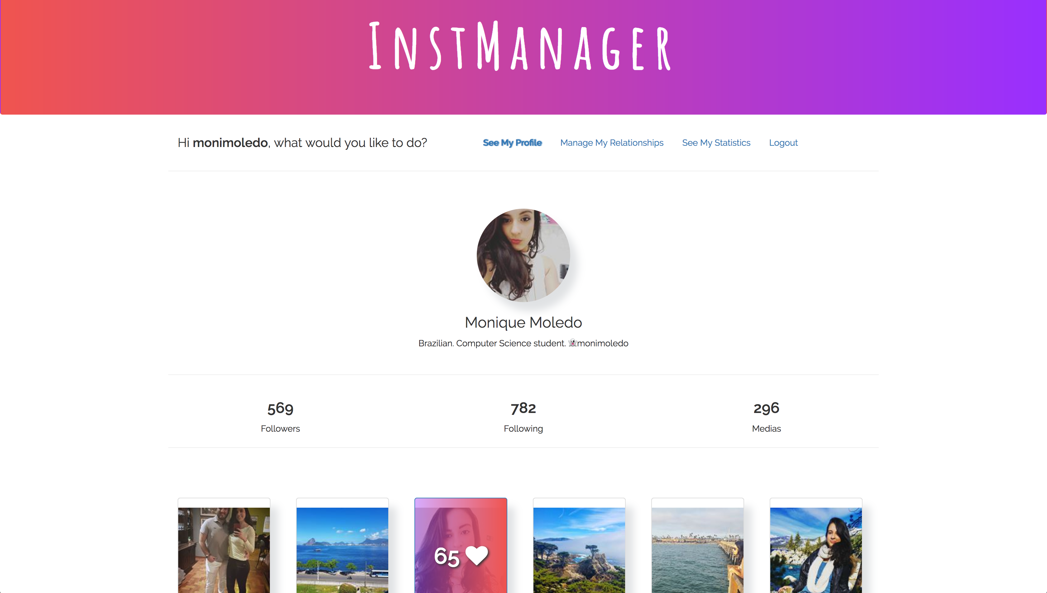 InstManager is an Instagram client built in Nodejs, Expressjs, Mongodb, Angularjs, and other technologies.