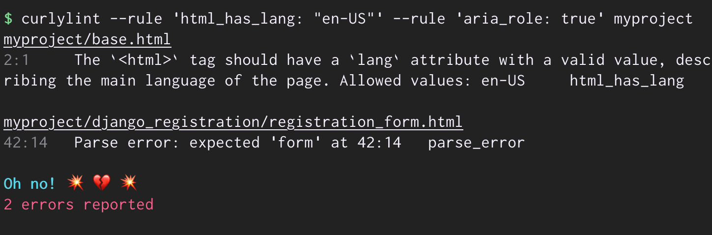 Screenshot of the curlylint CLI, with an example invocation raising a parsing issue and a rule error