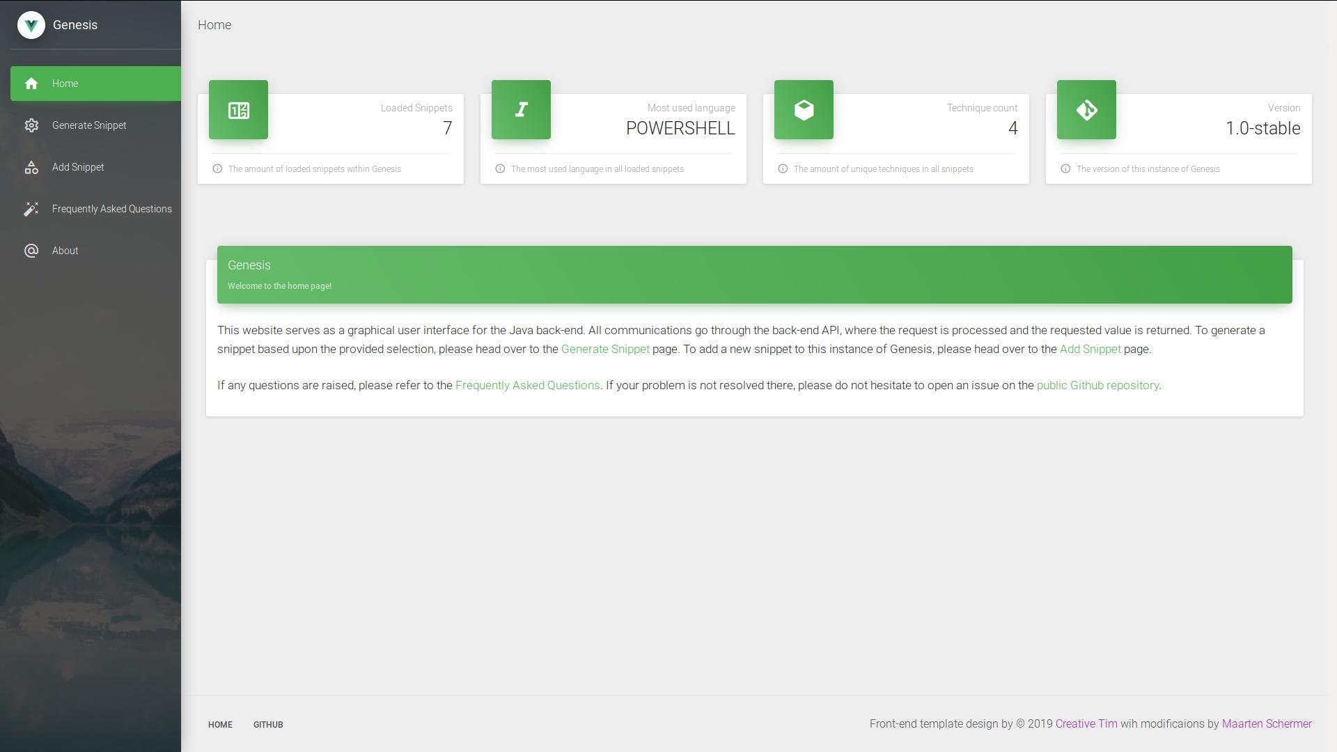 Genesis homepage