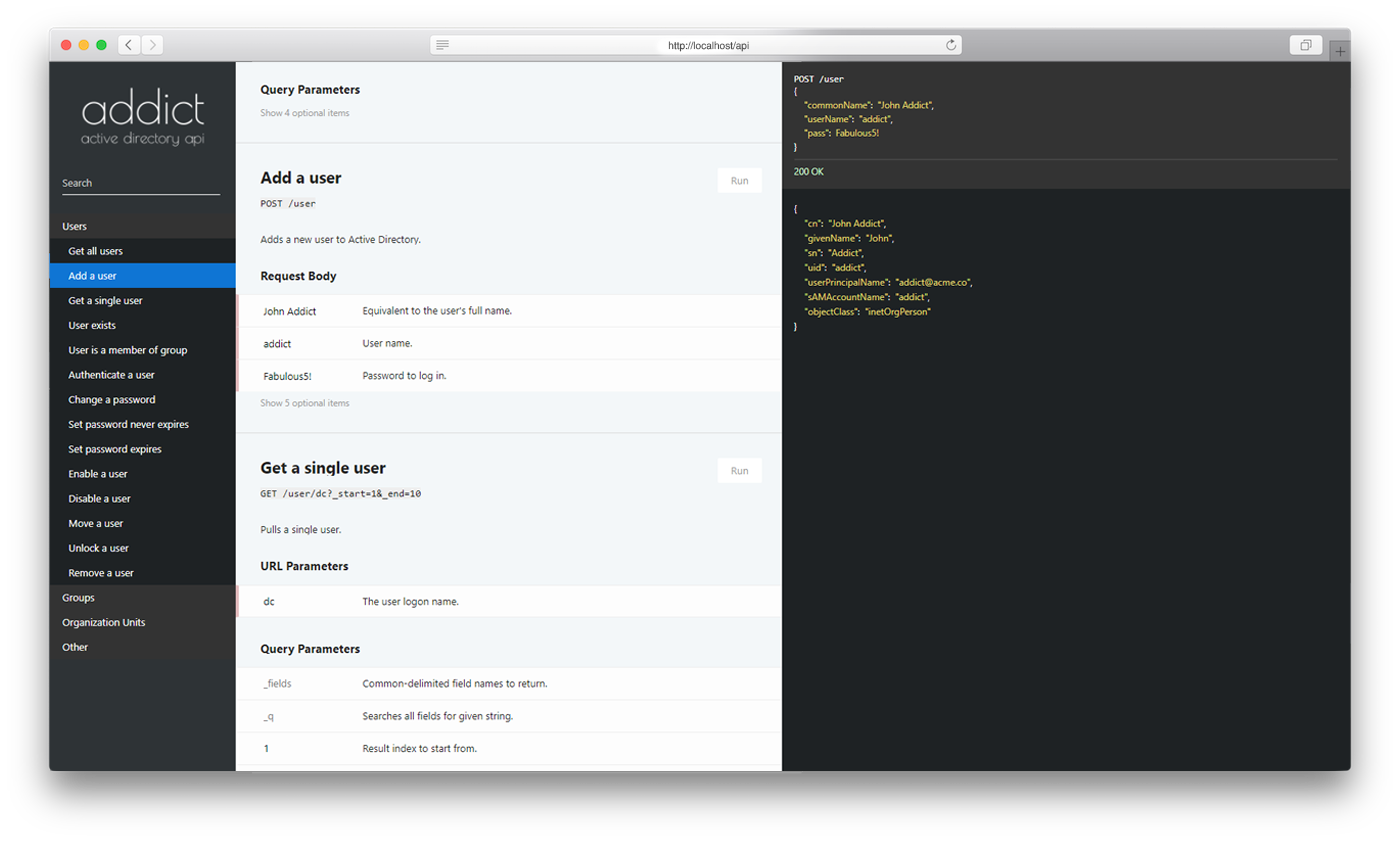 Screenshot of API docs for Addict.