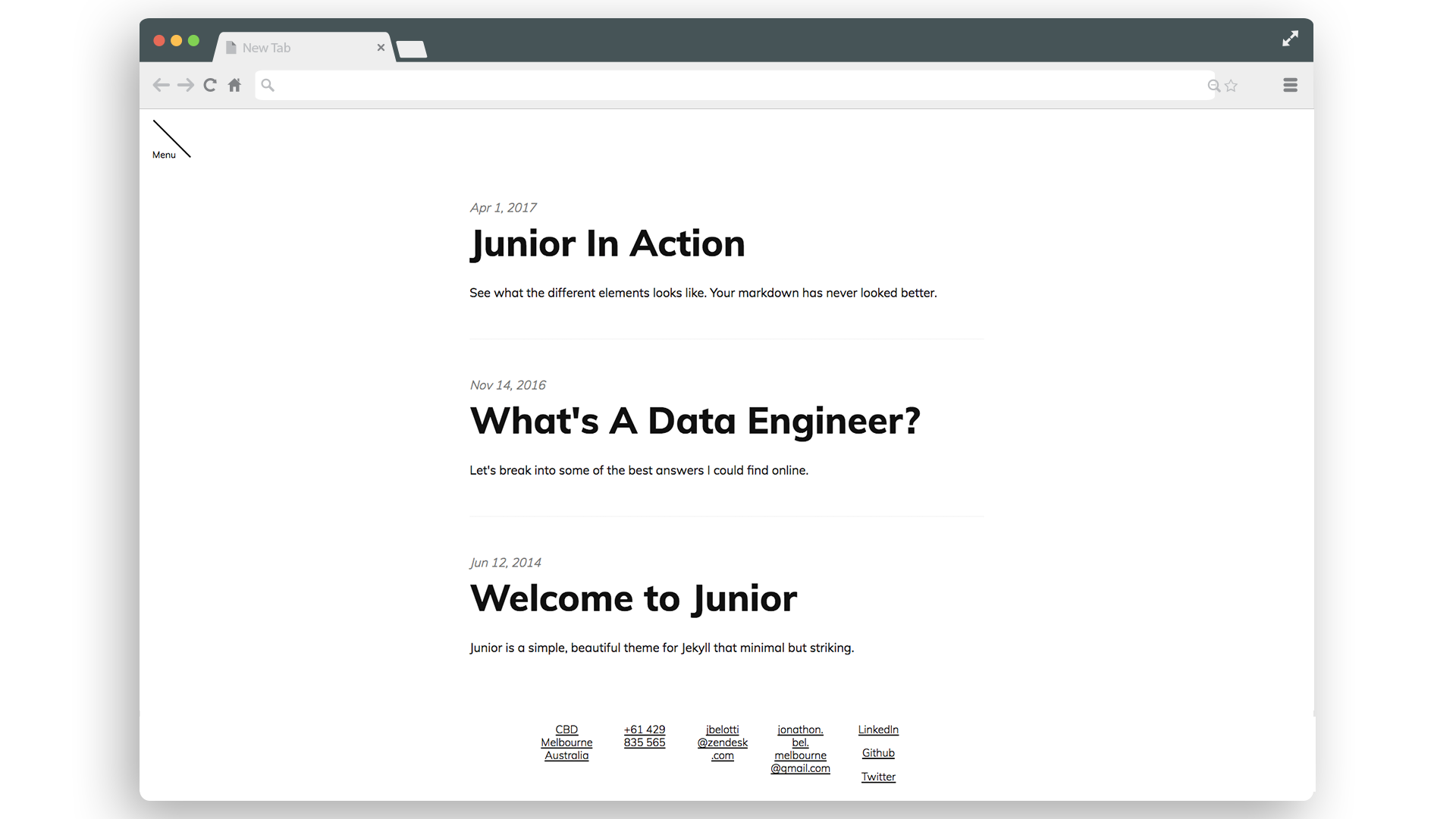 Junior main page